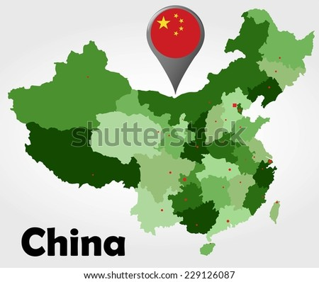 China political map with green shades and map pointer. - stock vector