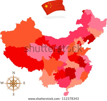 China province map - stock vector