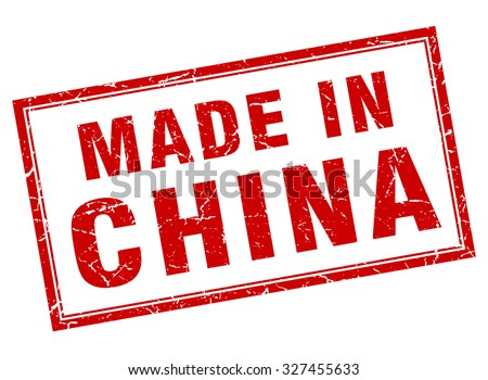 China red square grunge made in stamp - stock vector