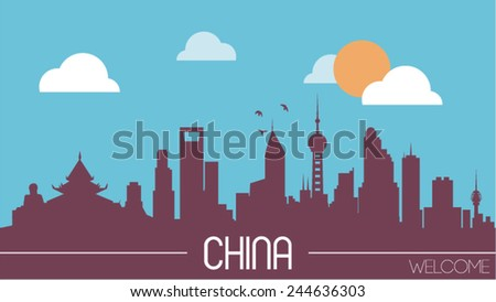 China skyline silhouette flat design vector illustration - stock vector