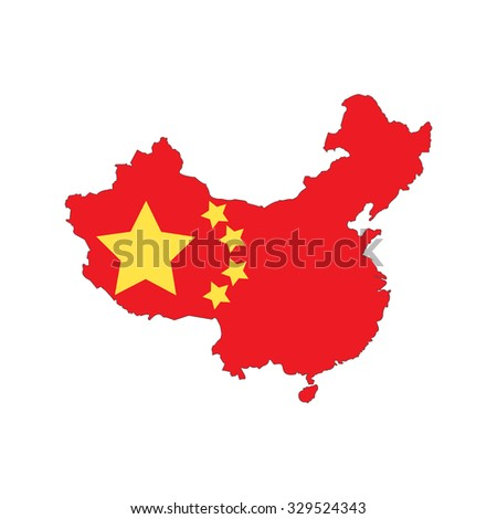 China state flag and territorial borders combination. Vector illustration template - stock vector