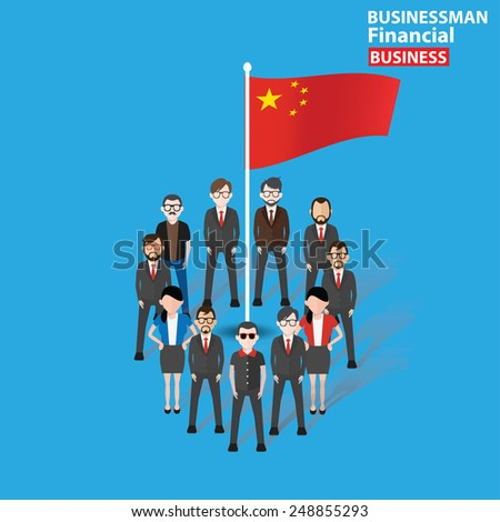 China teamwork,character design on blue background,clean vector - stock vector