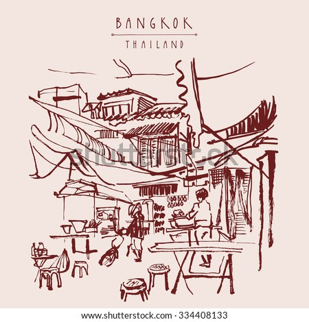 China town in Bangkok, Thailand. Food stalls, tables, stools. People buying Chinese food in a simple street cafe. Vintage hand drawn postcard. Vector illustration - stock vector