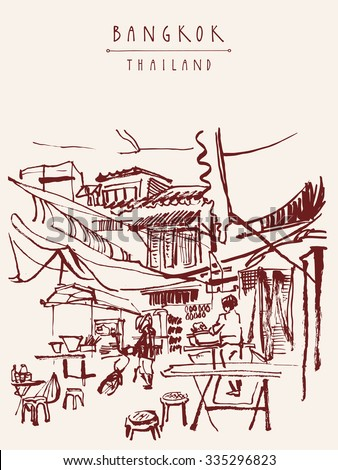 China town in Bangkok, Thailand. Food stalls, tables, stools. People buying Chinese food in a simple street cafe. Vertical vintage hand drawn postcard. Vector illustration - stock vector