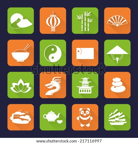 China travel traditional culture symbols flat icons set with great wall temple bamboo isolated vector illustration - stock vector