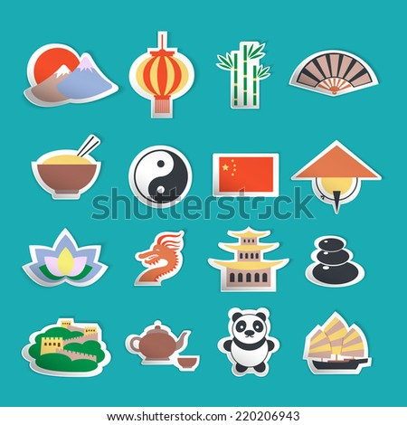 China travel traditional culture symbols stickers set isolated vector illustration - stock vector