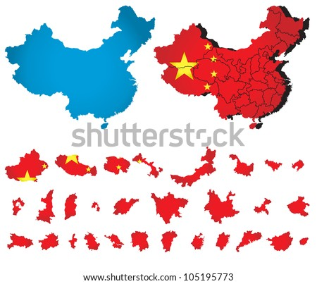 China vector map  with flag - stock vector
