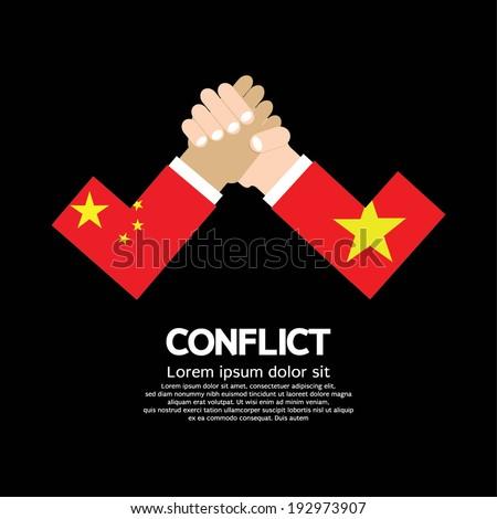 China VS Vietnam Arm-Wrestle - stock vector