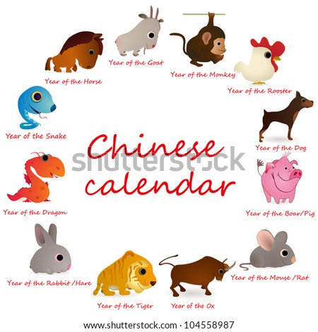 Chinese calendar with 12  animals - stock vector
