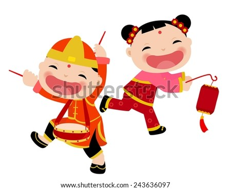 Chinese children - boy and girl - stock vector