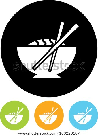 Chinese cuisine food meal chopsticks vector icon - stock vector