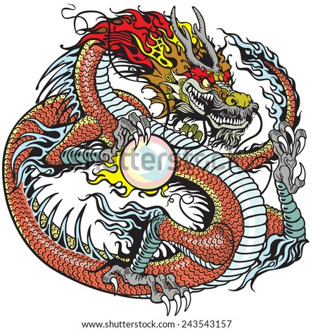 chinese dragon holding pearl , tattoo illustration - stock vector