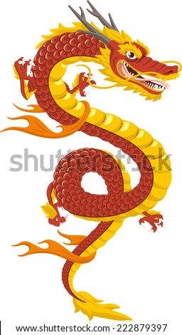 Chinese Dragon Traditional Culture, vector illustration cartoon. - stock vector
