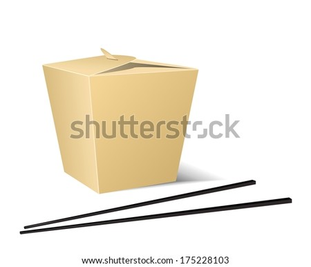 Chinese food box with white background - stock vector