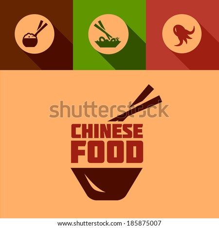 Chinese Food Design Elements in Flat Design Style. - stock vector