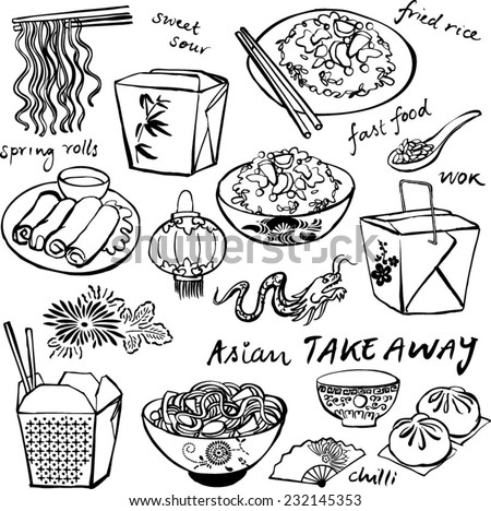 Chinese food icons vector doodle set - stock vector