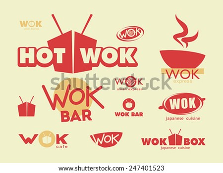 Chinese food, menu cover template with box, wok and chopsticks - stock vector