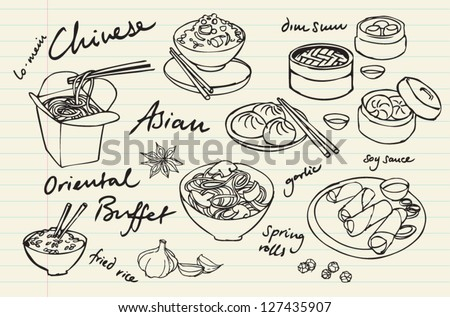 Chinese food vector drawings set - stock vector