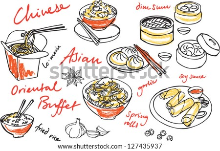 Chinese Dumpling Drawing Chinese Food Vector Drawings
