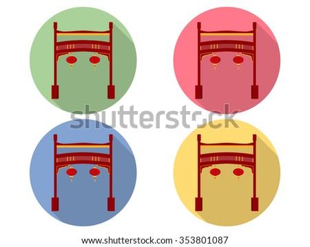 Chinese gate. Paifang. Flat icon set. - stock vector
