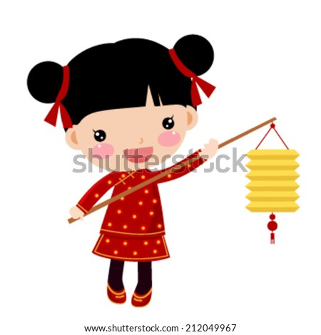 Chinese girl with a lantern - stock vector