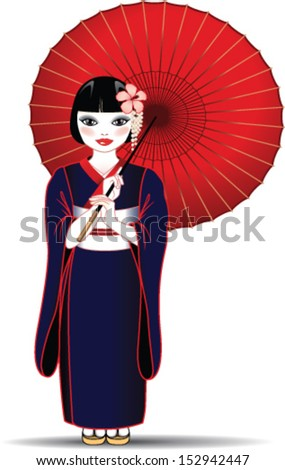 Chinese girl with kimono and red umbrella - stock vector