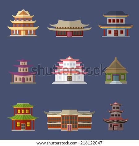 Chinese house ancient temples oriental buildings icons set isolated vector illustration - stock vector