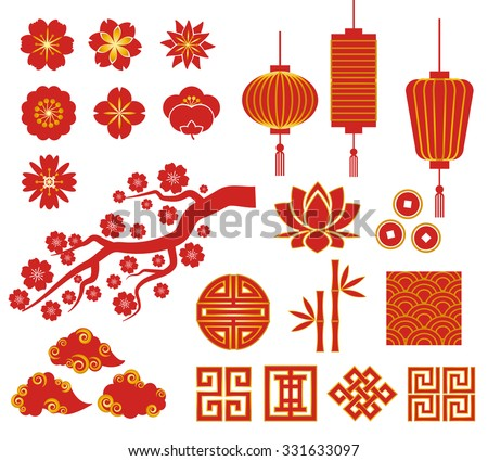 Chinese, Korean or Japan decorative vector icons for Chinese New Year - stock vector