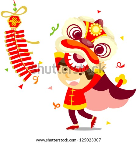 Chinese Lion Dance Vector Chinese Lion Dance Stock