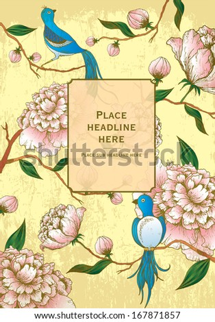 chinese lunar new year/background/chinese background/peony flowers and birds template vector/illustration - stock vector