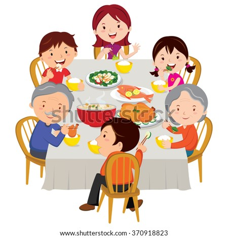 Chinese New Year dinner isolated. Family dinner. - stock vector