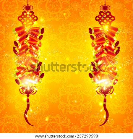 Chinese New Year Fire Crackers Vector Design - stock vector