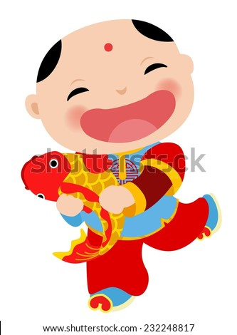 Chinese new year greeting card - boy - stock vector