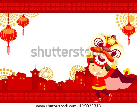 Chinese new year/Lion Dance - stock vector