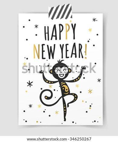 Chinese New Year monkey vector decoration ball icon. 2016 new year monkey chinese style. Happy monkey vector New Year China monkey ball. Chinese Monkey vector illustration. Monkey gold, white icon - stock vector