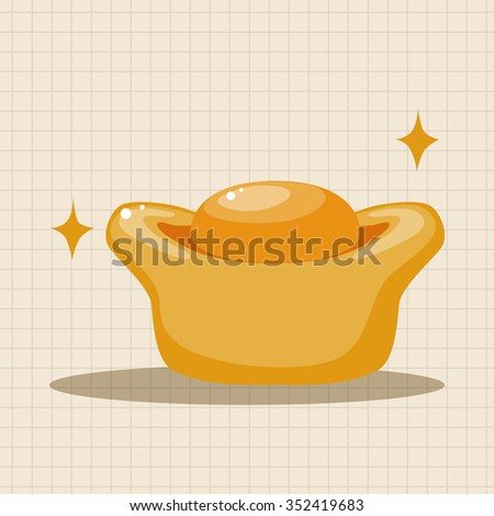 "Chinese New Year theme elements, Gold ingot means "" wish good luck and fortune come."" - stock vector"