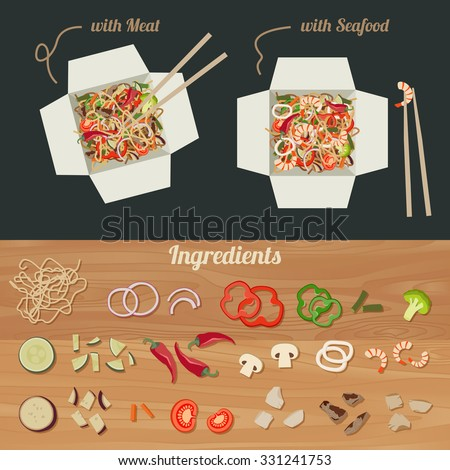 Chinese noodles with meat and seafood in paper box. Ingredients for noodles wok. - stock vector