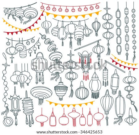 Chinese paper lanterns collection.  Different shapes and types. Decorative elements for traditional asian holidays. Freehand vector drawing isolated on white background. - stock vector