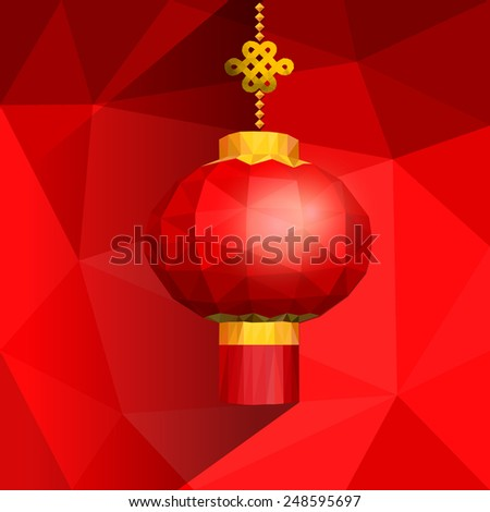 Chinese red lanterns on shatter gradient background with low poly style for Chinese new year. - stock vector