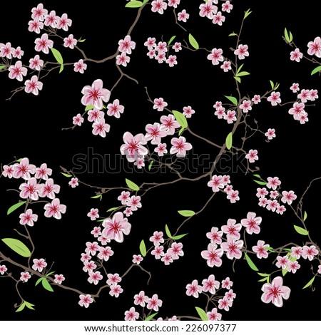 Chinese sakura black seamless vector pattern, EPS10 file - stock vector