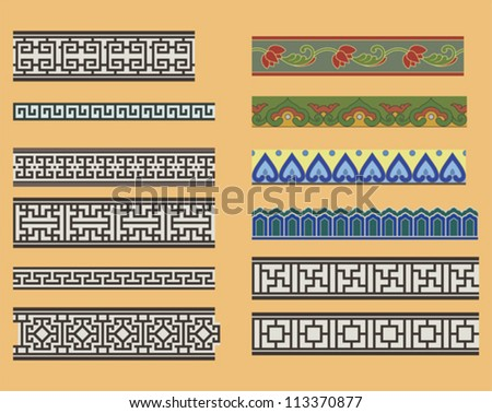 Chinese seamless linear ornaments - stock vector