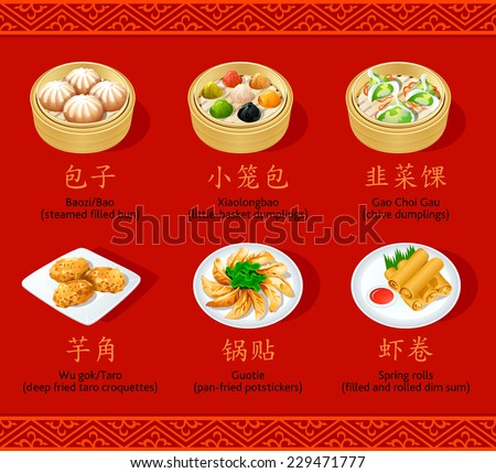 Chinese steamed, fried and rolled dumpling icons - stock vector