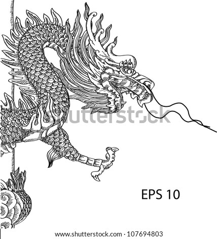 Chinese Style Dragon Statue Vector line, EPS 10. - stock vector