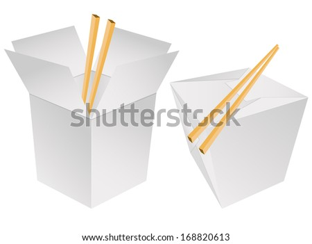 Chinese takeout box - stock vector