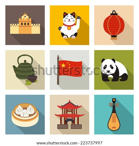 Chinese theme icon set - stock vector