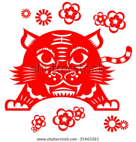 Chinese Tiger patter - stock vector