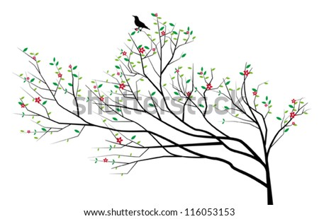 Chinese tree with a bird on it - stock vector