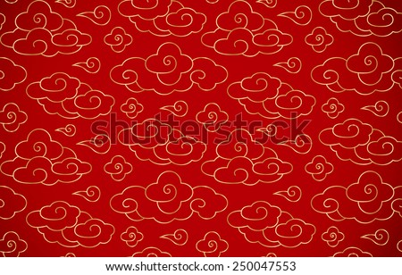 Chinese vintage cloud seamless background, with red back and golden cloud - stock vector