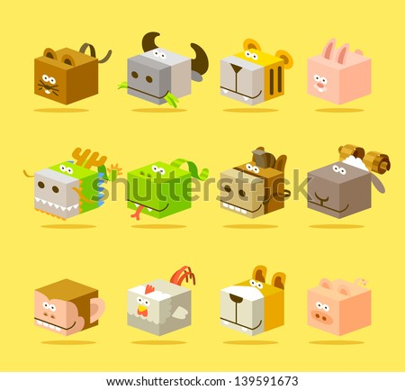 Chinese Zodiac icon set - stock vector