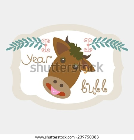 Chinese zodiac sign. Horoscope. Year of The Bull (Ox). Vector. icon - stock vector
